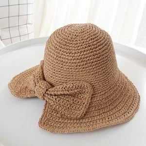 Frauen-Sommer-Hut mit breiter Krempe Raffia Bow Panama faltbarer Frauen-Hut-Wannen -(Khaki,)