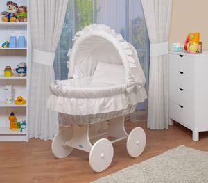 WALDIN Baby Stubenwagen-Set mit Ausstattung,XXL,Bollerwagen,komplett,3 Modelle wählbar, Größe:Gestell/Räder weiß lackiert, Farbe:weiß