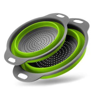 Korb Faltbares Sieb Set mit 2 runden Silikon Küchensieben, 1 großes 1 kleines Perfekt zum Abtropfen von Nudeln, Gemüse und Obst(Grün)