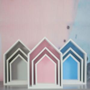 Puckdaddy Hausregal Elise in Rosa 3er Set dekorative Regale im Haus Design Kinderzimmer Regal