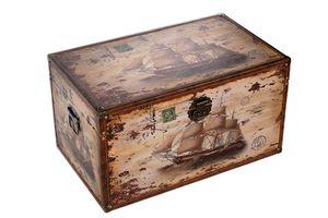 Birendy Truhe Kiste 14304 Schiff Holztruhe Schatzkiste mit Kunstleder bezogen, Größe:Größe XXL 59cm x 36cm x 33cm