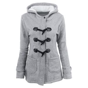 Frauen einfarbige Hornknöpfe Strickjacke gepolsterte Kapuzenmantel Jacke Mantel Größe:XL,Farbe:Grau