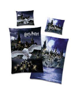 Harry Potter Wende Bettwäsche Set Eule Hedwig Hogwarts Schule 100% Baumwolle 135x200 80x80cm