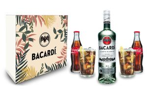 Bacardi Geschenkset - Bacardi Carta Blanca 0,7l 700ml (37,5% Vol) + 2x Coca Cola 200ml + 2x Bacardi Gläser - Inkl. Pfand MEHRWEG
