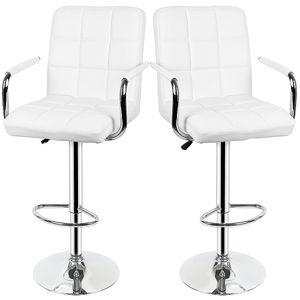 2ER Barhocker SET Barstuhl Drehstuhl Tresenhocker mit Lehne Loungesessel -Weiß