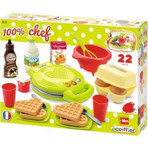 Ecoiffier Kinder Backset Waffeleisen Rührschüssel Schneebesen Spielzeug Essen