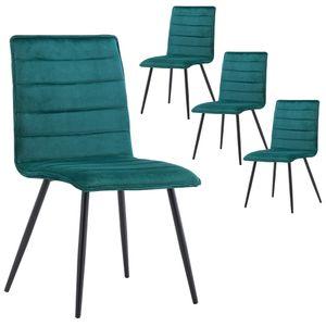 Duhome 4er Set Esszimmerstuhl Polsterstuhl aus Stoff Samt Petrol Blau Grün Metallbeine