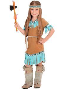 Indianerin Kostüm mit Kleid, Gürtel, Stirnband - Kinderkostüm Gr.  128 cm