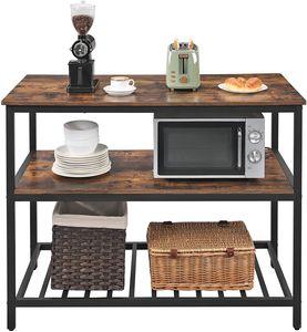 VASAGLE Küchenregal mit 3 Regalablagen 120 x 60 x 90 cm, Kücheninsel mit großer Arbeitsplatte, Esstisch einfacher Aufbau vintagebraun-schwarz KKI01BX
