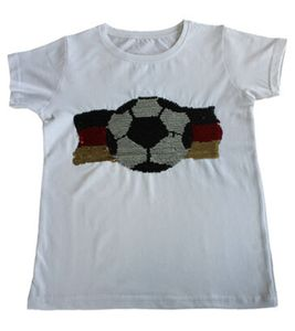 THREE OAKS Fußball-Shirt kurzärmliges Kinder Pailletten T-Shirt mit Glitzereffekt Weiß, Größe:152