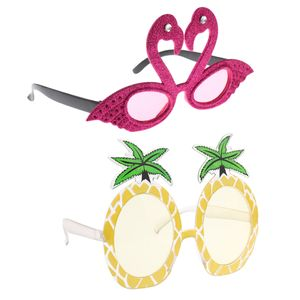 Neuheit Hawaiian Tropical Flamingo \\u0026 Ananas Sonnenbrille Party Brillen