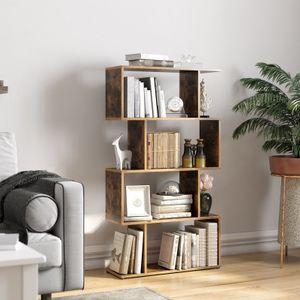 VASAGLE Bücherregal mit 4 Fächern | 70 x 24 x 127 cm | Standregal Würfelregal freistehendes Regal Raumteiler dekorativ Vintage dunkelbraun LBC41BX