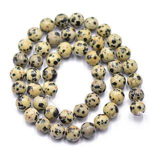 """Runde Dalmatinische Jaspis Perlen Schmuck Armband Machen Lose Edelstein 15 \"""""""