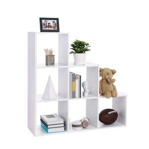 VASAGLE Bücherregal mit 6 Würfel weiß aus Holz 97,5 x 97,5 x 30 cm freistehend Treppen Raumteiler Ausstellungsregal LBC63WT