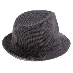 Männer Frauen Vintage Sommer Gangster Trilby Leinen Fedora Hut 58cm schwarz Fedorahut 58 cm