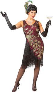 Damen Kostüm Charlestonkleid Pfau Kleid m. Fransen Karneval Fasching  Gr. S/M