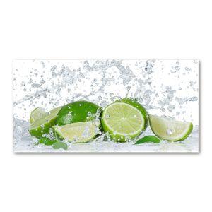 Tulup Acrylglas - Wandkunst - 100 x50 cm -  Bild auf Plexiglas® Dekorative Wand für Küche & Wohnzimmer  - Essen & Getränke - Limetten Wasser - Grün
