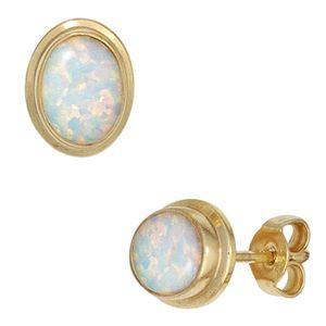 JOBO Ohrstecker 333 Gold Gelbgold 2 Opale Ohrringe
