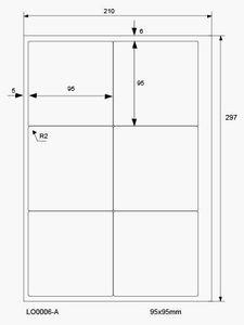600 Etiketten auf 100 Blatt, selbstklebend 95 x 95 mm, weiße Universal-Etiketten, 70g/qm von LabelOcean (R) LO-0006-A-70-100