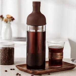 Tragbare Kaffeekanne 1 Liter, Handgebrühte Kaffeekanne Mit Doppelter Filter, Braun