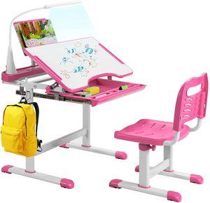 COSTWAY Kinderschreibtisch Set mit Bücherständer& LED-Licht, höhenverstellbarer Kindertisch und Stuhl mit gekippter Tischplatte&Schublade, Kinder Schreibtischfür Jungs & Mädchen (Rosa)