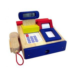Estia 600120 Kasse Rechner und Scanner rot/blau/natur Holz für Kaufladen