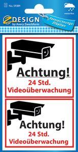 """AVERY Zweckform ZDesign Hinweis-Etikett """"Videoüberwacht"""" 1 Bogen mit 2 Etiketten"""