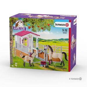 Schleich - Tierfiguren, Pferdebox mit Arabern und Pferdepflegerin; 42369