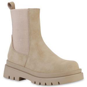 VAN HILL Damen Plateau Boots Stiefeletten Stiefel Profil-Sohle Schuhe 837887, Farbe: Khaki, Größe: 38