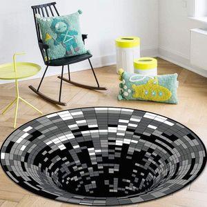 3D Teppich Optische Täuschung,Quadrat 3D Illusion Vortex,3D Teppich rund,3D Visual Illusion Rutschfester Teppich,Schwarzweiß-Stereo-Sichtmatte,Flächenteppich Runder Teppich (150x150 cm)