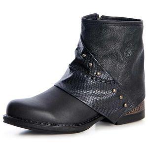 topschuhe24 1284 Damen Stiefeletten Worker Boots Nieten Robust, Farbe:Schwarz, Größe:39 EU