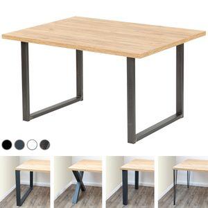 LAMO Manufaktur Schreibtisch Computertisch Tisch Esstisch 138x100x76 cm (LxBxH), Spanplatte/ Loft, Eiche Gold / Schwarz