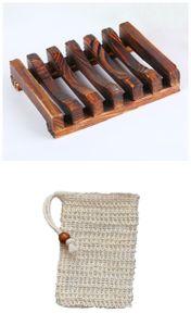 3x Holz Seifenschalen Box mit Seifensäckchen Sisal Handarbeit Seifenhalter Set