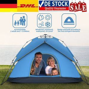 Campingzelte Schnellaufbau Zelt Pop-Up Wurfzelt Sekundenzelt 3-4 Personen, Blau
