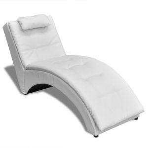 Gartenliege Sonnenliege Relaxliege | Saunaliege Wellnessliege Strandliege | Freizeitliege Relaxstuhl mit Kissen Weiß Kunstleder |6687