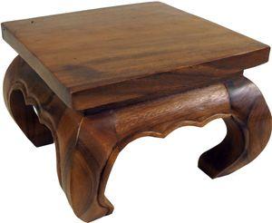 Opiumtisch, Teetisch, Blumenbank aus Massivholz - Braun 30*30 cm, Kaffeetische & Bodentische