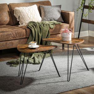 VASAGLE Beistelltische 2er Set dreieckig Couchtisch für Wohnzimmer Schlafzimmer Industrie-Design vintagebraun-schwarz LNT012B01