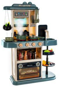 Spielküche Kinderküche Zubehör Funktion Wasserhahn Kaltdampf 43 Elemente 9567, Farbe:Blau/ blue
