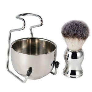 Männer Rasierset mit Rasierständer Rasierpinsel und Rasierschale Bartpflege Set für Badezimmer