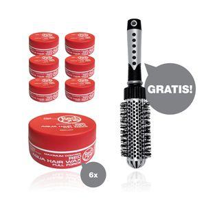 RedOne Red Aqua Wax Full Force 6 x 150ml  + HairForce Rundbürste gratis