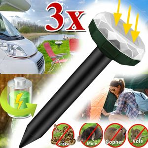 3x Ultraschall Maulwurfschreck Solar Wühlmausschreck Maulwurf Maulwurffalle Abwehr Maus Repeller Repellent Schädlingsbekämpfung