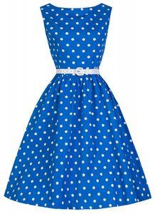 50er Jahre Rockabilly Kleid Zoe Blau/Weiß, Größe:40