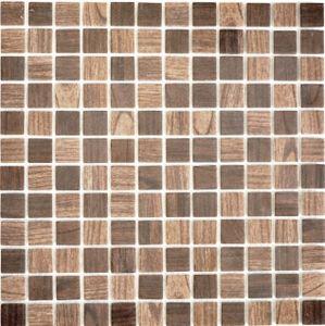 Mosaikfliese ECO Recycling GLAS ECO Holzstruktur braun dunkelbraun MOS63-410