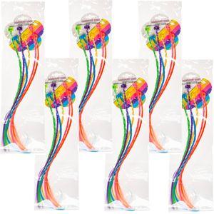 36 Stück TE-Trend Bunte Haarsträhnen Kinder Mädchen Neon Extensions Clip Haarteil Geflochten Regenbogenfarben Mehrfarbig