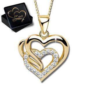 Damenkette 50cm  Herz echt 925 Sterling Silber Halskette mit Anhänger  Damen Frauen Kette Herzkette Gold K601+V11+50cm