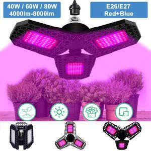 144LEDs 80W LED Faltbar Pflanzenlampe Grow Light Pflanzenlicht Zimmerpflanzen Wachstumslampe Dimmbar E26/E27
