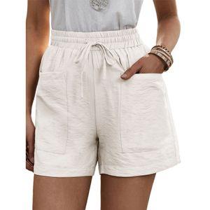 Damen Jogginghosen Mini Shorts Strandshorts Mittlere Taille Kurze Freizeithosen,Farbe:Beige,Größe:XXL