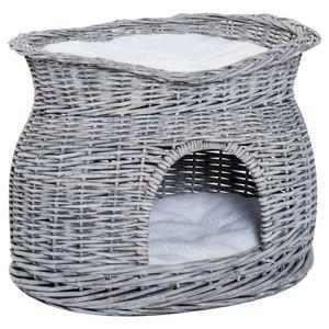 PawHut zweistöckiges Katzenhaus, Katzenbett Katzenhöhle, Katzenkorb mit 2 Kissen, Weidenkorb mit Liegedach, Grau, 56 x 37 x 40 cm