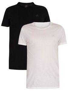 GANT Herren 2er Pack Lounge T-Shirts mit Rundhalsausschnitt, Schwarz L