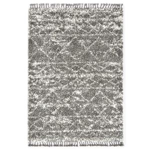 Berberteppich Hochflor PP Grau und Beige 140 × 200 cm